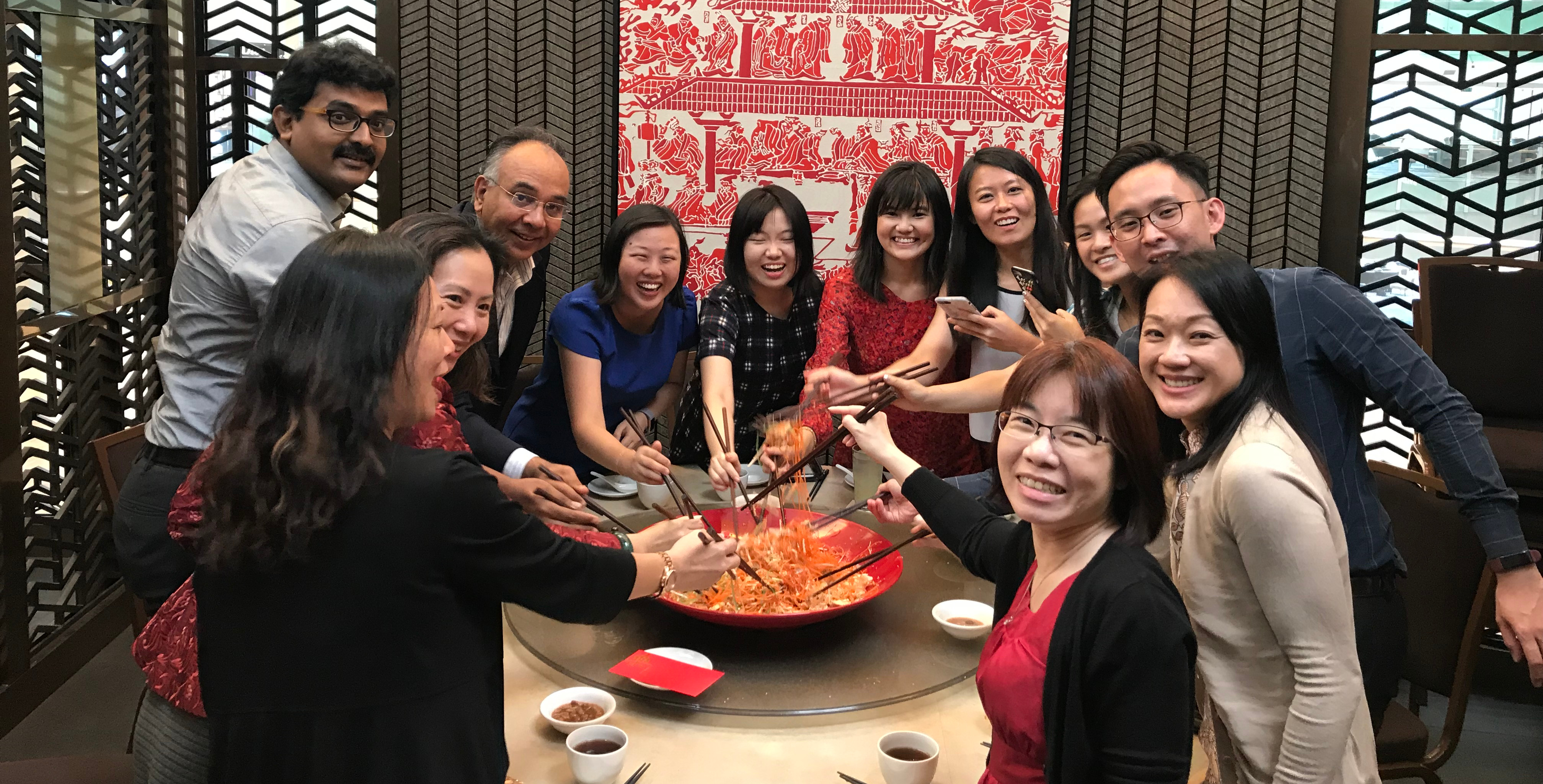 Celebrating Lo Hei during Chinese New Year